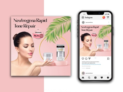 Beauty Product Instagram Template branding logo graphic design lipstick