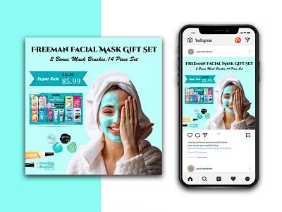Beauty Product Instagram banner template logo branding graphic design lipstick