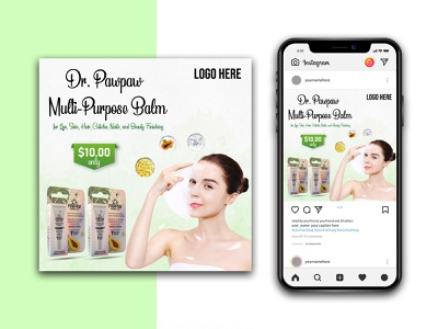 Beauty Product Instagram banner template lipstick