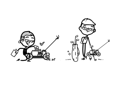 Instruction for use - DIY - Mower golf golf club mower comicsart linework line art lineart vector illustrations vector art 2d art character design character design animate animation vector illustration vector illustration
