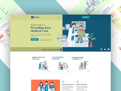 Medical UI Template and Elementor Wordpress Theme illustrator animation flat web elementor templates design typography vector ui elementor