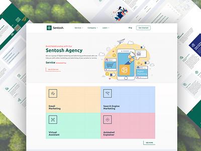Sentosh Agency Home Page minimal branding typography illustrator flat animation web elementor templates elementor design