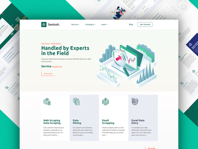 Sentosh Service Page Design ui minimal branding typography illustrator animation web elementor templates elementor design