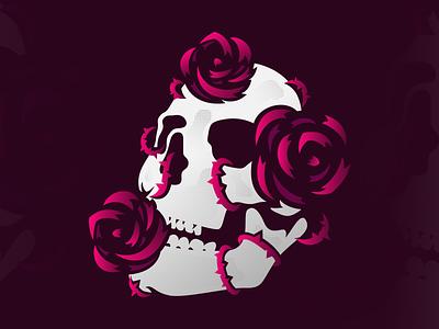 Skull and Roses vines flower rose roses skull
