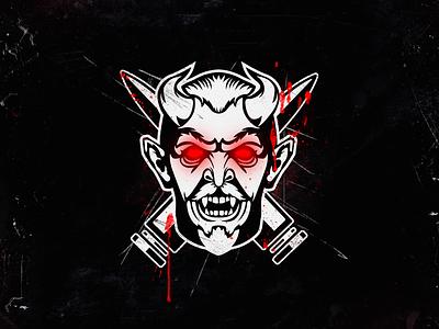 Demon mascot vector blood demon illustration