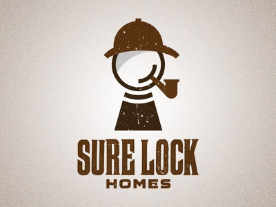 Sure Lock Homes Revised logo pun sherlock holmes pipe hat england magnifying glass identity