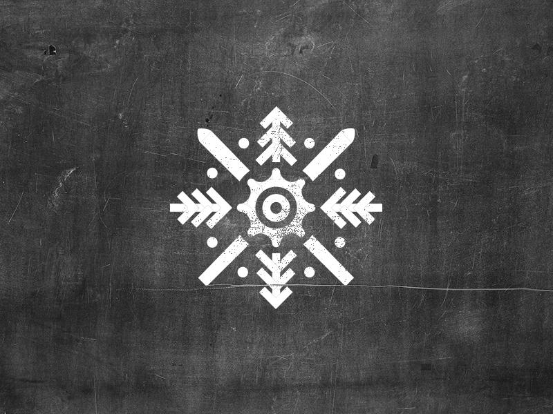 Ski/Bike Chalet Logo skiing biking gear trees forest snowflake chalet