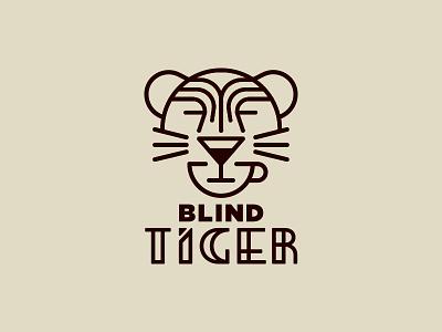 Secret Booze Logo tiger blind monoline art deco deco fancy cat secret martini tea tea cup
