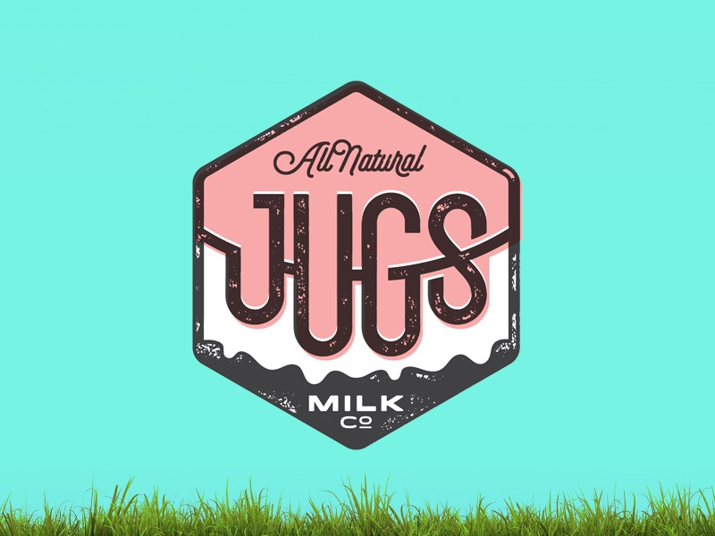 All Natural Jugs milk jugs badge selfie all natural type typography logo