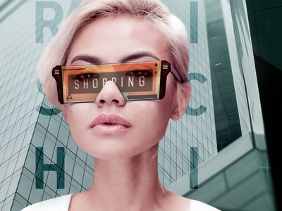 Futurischick vr glasses shopping online future lady illustration print