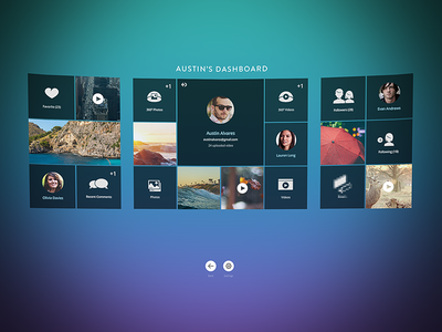 Dashboard for Virtual Reality App panel virtual reality vr ui profile user
