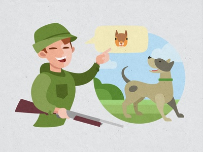A Hunting We Will Go... squirrel hunting flat illustration