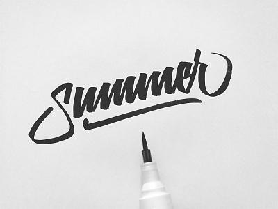 Ending Summer ink brush calligraphy lettering calligraphy brush summer