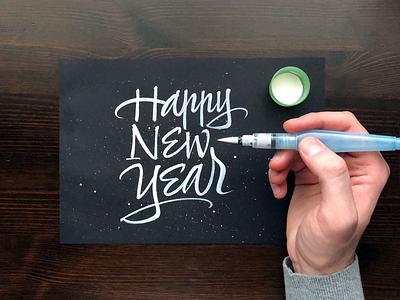 Happy New Year 2019 letters brushpen gouache caligrafia calligraphy brushcalligraphy brush