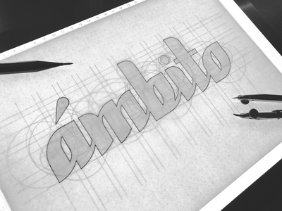 ámbito / Lettering Process type typeface logolearn logo logotype skecthing sketch process lettering process handmadefont grid system grid handlettering lettering