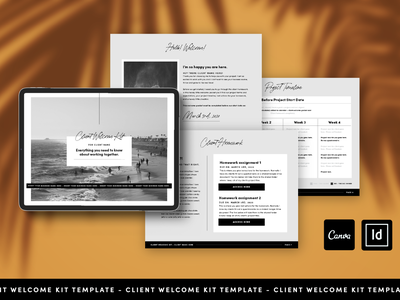 Client Welcome Kit Template editorial welcome guide ebook cover ebook layout layout freelance designer freelancer template design page layout digital guide ebook welcome kit template