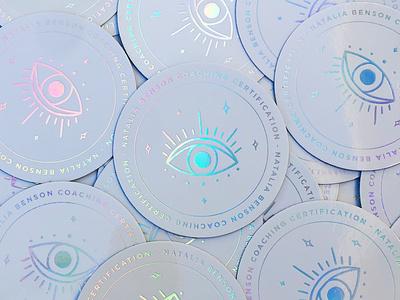 Natalia Benson Coaching Certification Holographic Stickers coaching certification modern mystic spiritual coaching mystical eye circle stickers stickers holographic foil holographic