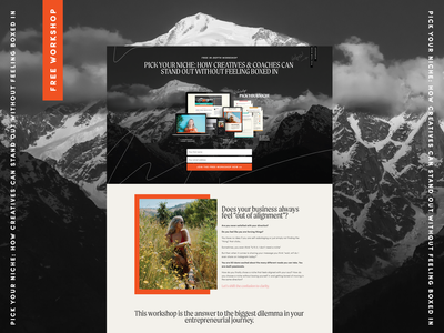 FREE Niche Workshop - Landing Page in Squarespace outdoors adventure page layout branding online course mockup niching for designers niche workshop opt-in landing page squarespace