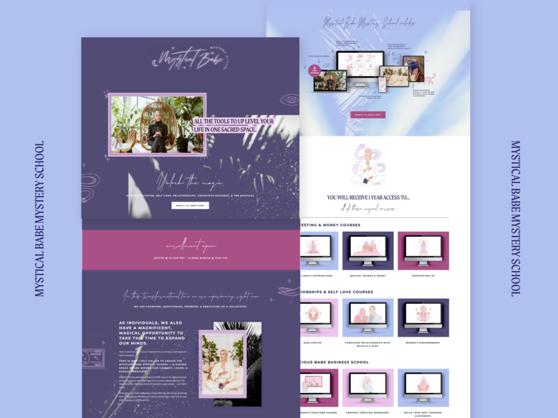 Mystical Babe Mystery School Sales Page Squarespace ui page layout coaching mystical mystic spiritual astrologer coach squarespace website squarespace design sales page squarespace