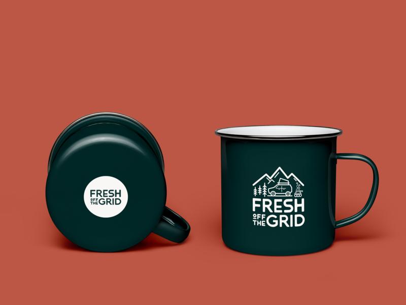 Fresh Off The Grid Enamel Mug Mock up illustration typography adventure logo enamel mug camp mug camping fresh outdoors branding
