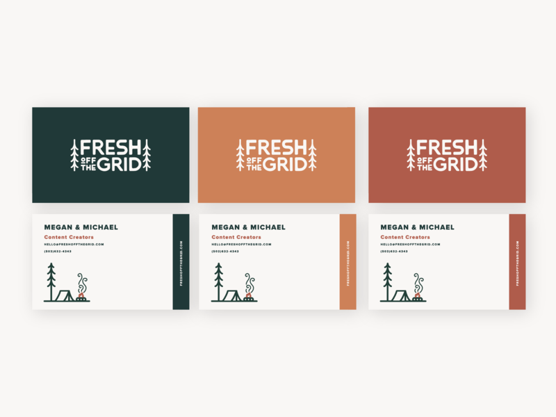 Fresh Off The Grid Business Cards outdoors camping business card design typography logo adventure branding