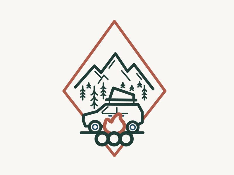 Fresh Off The Grid Car Camping Illustration outdoors illustration adventure logo branding campfire camping car camping