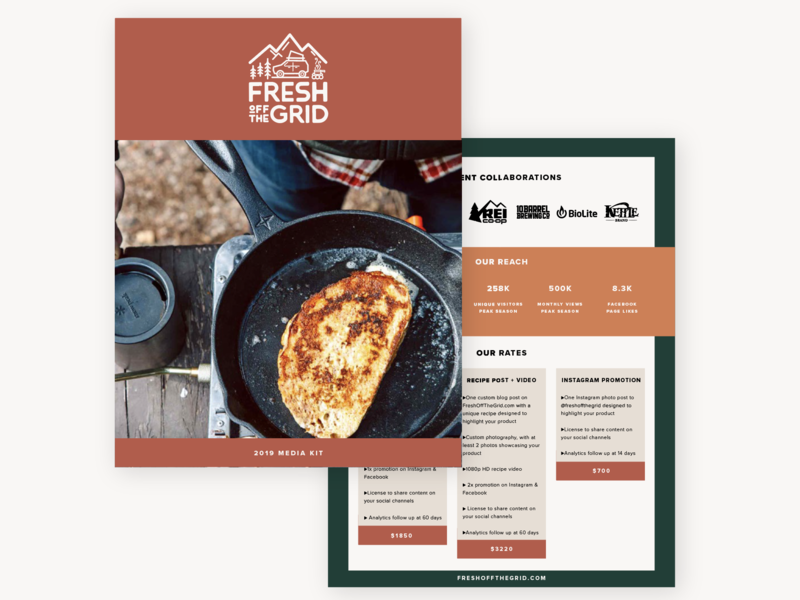 Media Kit Design for Fresh Off The Grid editorial outdoors adventure branding page layout indesign page design. layout media kit