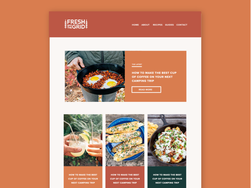 Fresh Off The Grid Website Design outdoors layout typography adventure branding camping cooking recipe blog website concept blog design recipes web design website squarespace