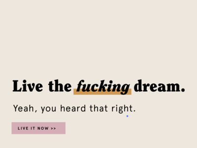Live the fucking dream. type type exploration editorial page layout layout typography