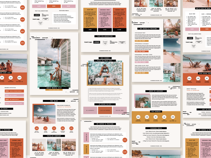 Media / Press Kit Template rate sheet indesign template influencer editorial layout canva indesign page layout bloggers press kit media kit template creative market template media kit