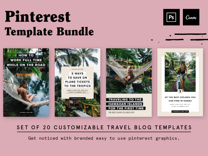 Pinterest Template Designs for Work From Wherever branding template design maui hawaii tropical typography blog post blogger page layout layout pinterest template