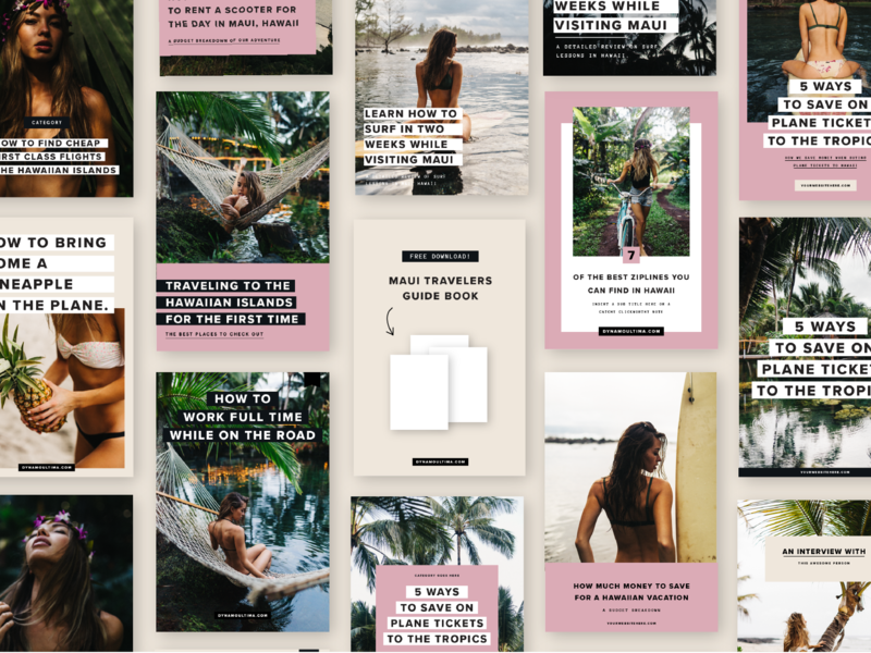 Pinterest Blog Post Graphics pinterest blog blogging blog post graphic tropical hawaii design page layout layout template