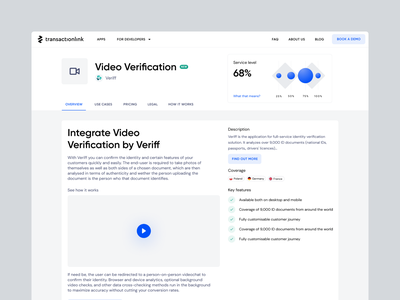 TransactionLink: Marketplace light integrations fintech filters app page list interface website transactionlink blue clean app catalog appstore marketplace ux ui