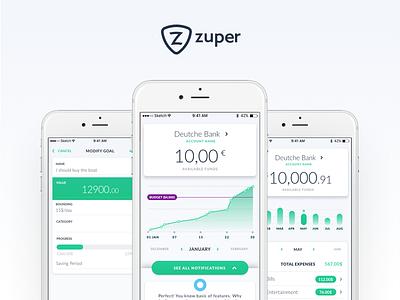 Zuper App zuper transactions spendings payment goals ios app banking balance account