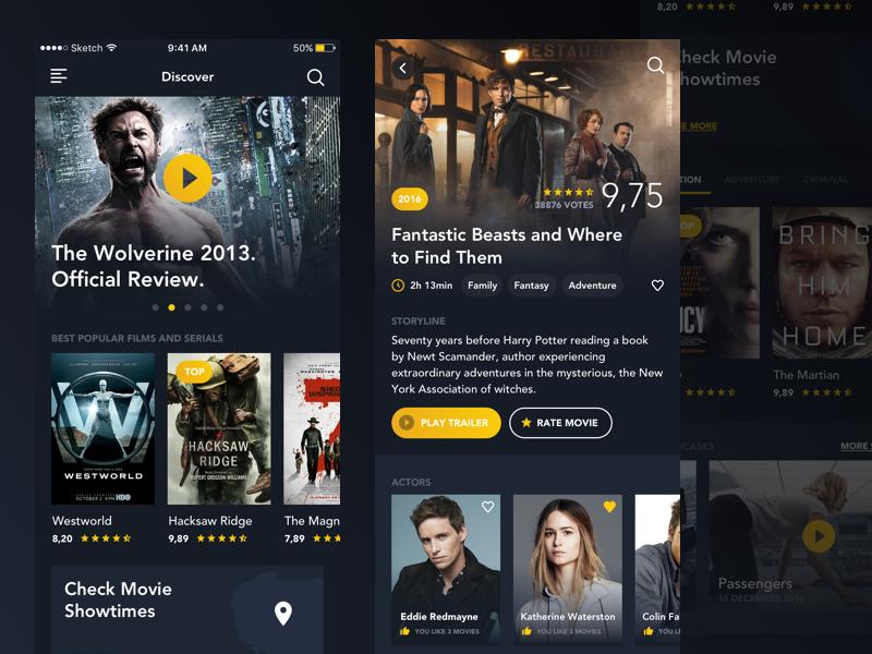 Movie App yellow dark clean actor rating movies ui app cinema film movie