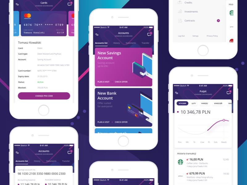 Unibank Mobile Dashboard 📱 account card chart banking finance app mobile dashboard bank unibank