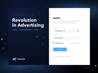 Adshares Onboarding in sing login hello onboarding ads advertising network adshares ethereum blockchain