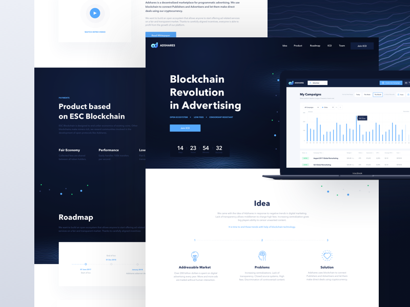 Adshares Landing Page website page landing network ethereum blockchain advertising adshares ads