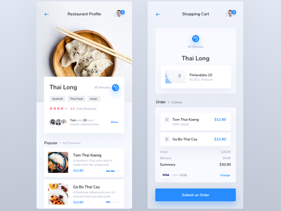 Food Delivery App summary order ios mobile cart shopping list profile restaurant app delivery food
