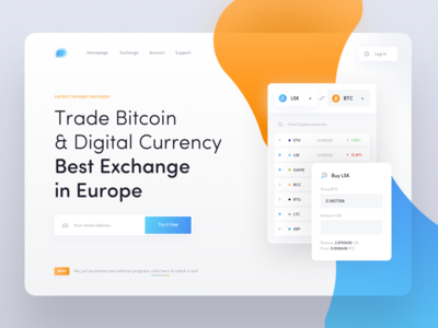 Cryptocurrency Exchange - Landing Page landing crypto cryptocurrency exchange bitcoin ethereum lisk ui ux transactions blockchain 10clouds