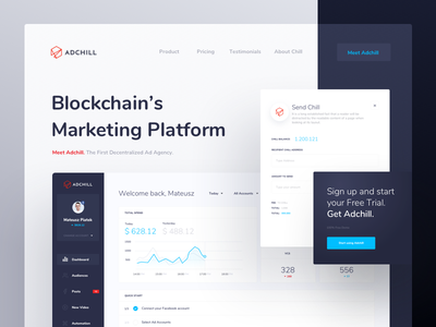 Adchill - General design product ui ux project chill crypto blockchain platform marketing adchill