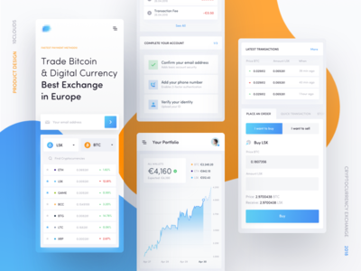 Cryptocurrency Exchange - Mobile ux ui transactions lisk landing exchange ethereum cryptocurrency crypto blockchain bitcoin 10clouds
