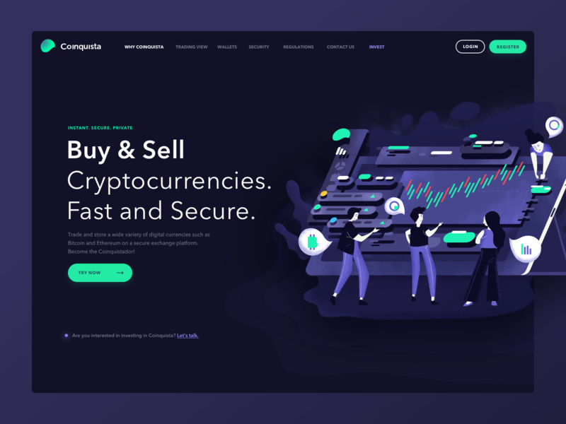 Coinquista - Header ux illustration blockchain ui crypto currency crypto trading header landing page landing cryptocurrencies cryptocurrency cryptocurrency exchange 10clouds coinquista