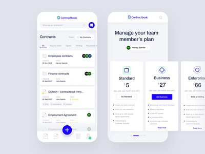 Contractbook - iOS App intercom ux ui mobile pricing pricing store signing list mobile list view mobile app ios list drafts contracts contractbook contract