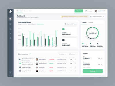 Smarter Business / Company Spending - Dashboard product design ui ux desktop outcome income overview wallets stats fintech finance spending company dashboard