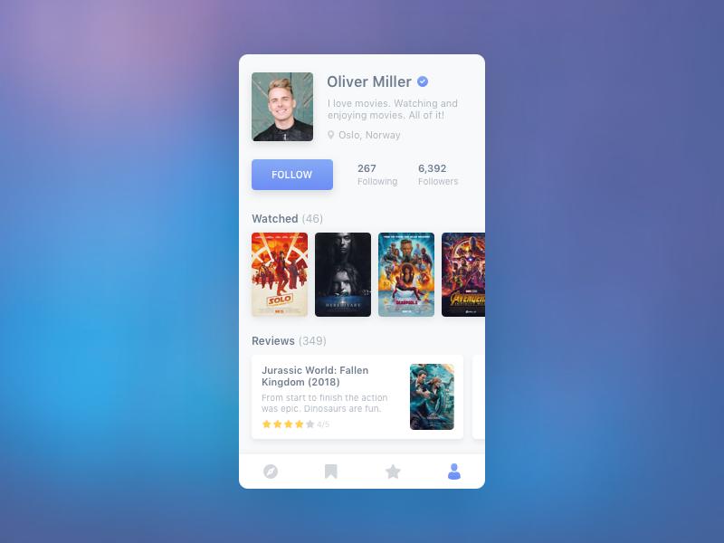 User Profile (Movie App) application app mobile blue concept daily ui movies gradient profile user