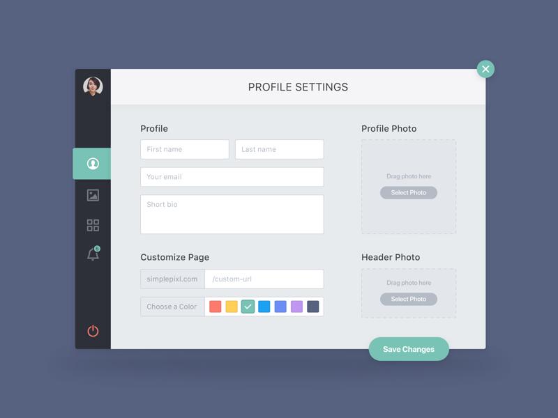 Profile Settings (Modal) user profile settings popup modal daily ui concept green web app application