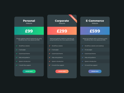 Pricing Tables (Vibrant Gradients)