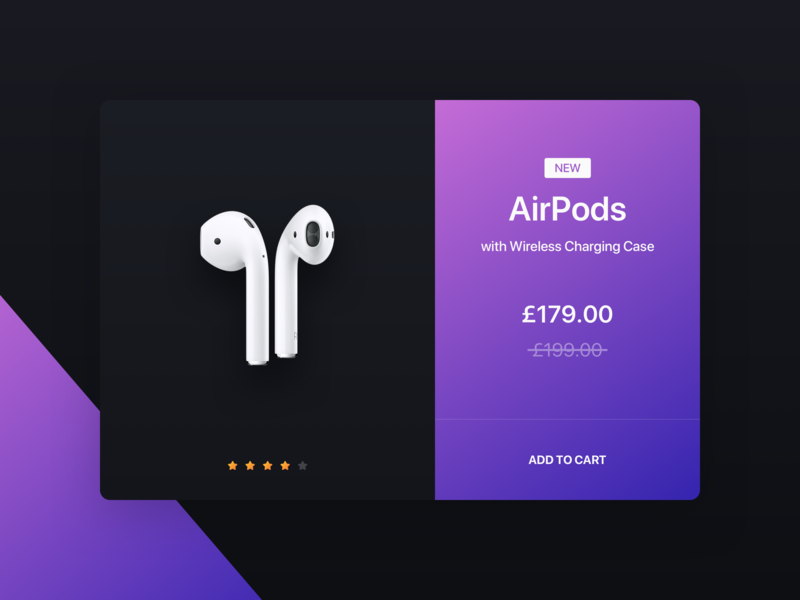 AirPods (Shop Concept) ear buds product cart gradient blue purple e-commerce shop airpods apple daily ui typography ux ui concept