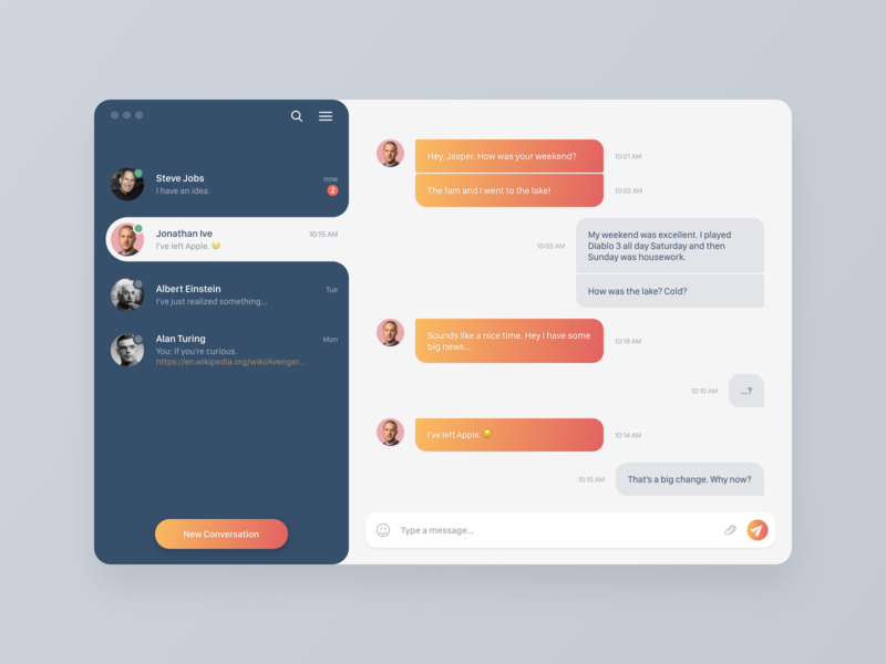Direct Messaging App direct message direct messaging gradient app daily ui typography application ux ui concept